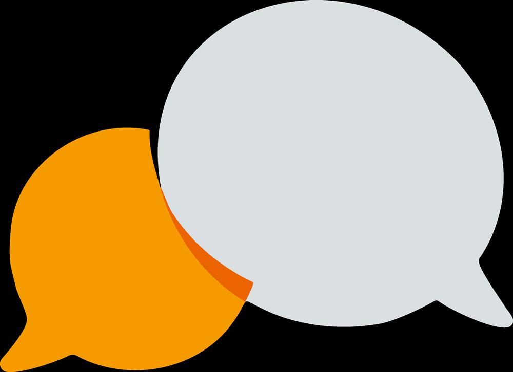 Illustration zum Bereich Beratung. Zwei Sprechblasen, die sich überschneiden.