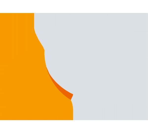 Illustration: Zwei Sprechblasen in orange und grau, die sich überschneiden. Die Illustration steht für Beratung nach einem rechten Angriff.