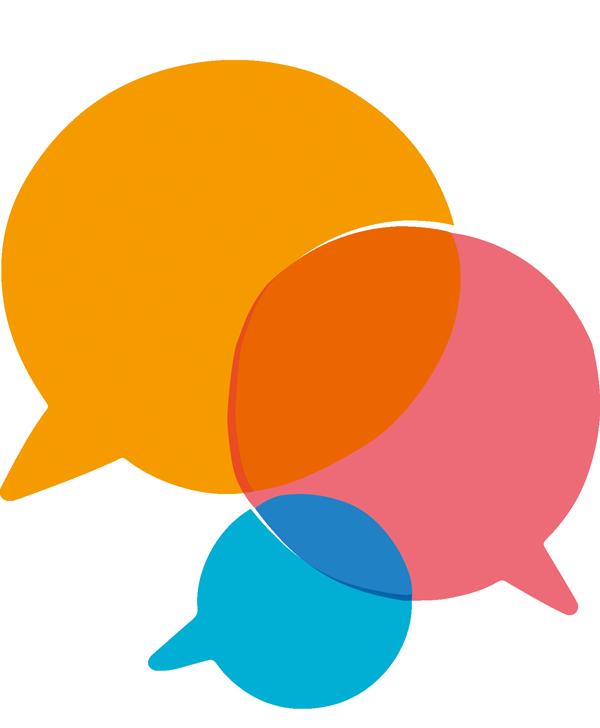 Illustration für die drei Bereiche in Form von Sprechblasen, die sich überschneiden. Beratung, Unterstützung und Dokumentation.
